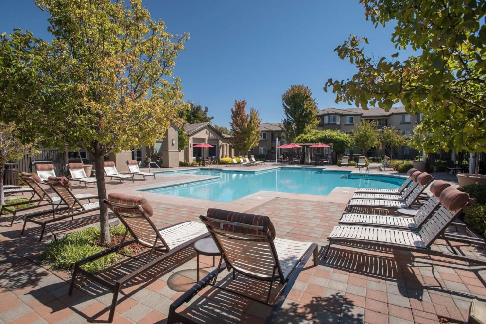 Resort-style spa and swimming pool at The Artisan Apartment Homes in Sacramento, California