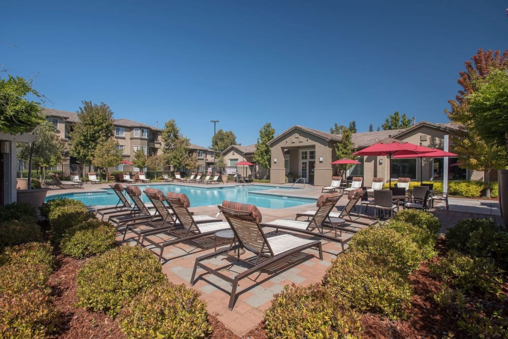 Swimming pool with plenty of lounge chairs for entertaining guests at The Artisan Apartment Homes in Sacramento, California