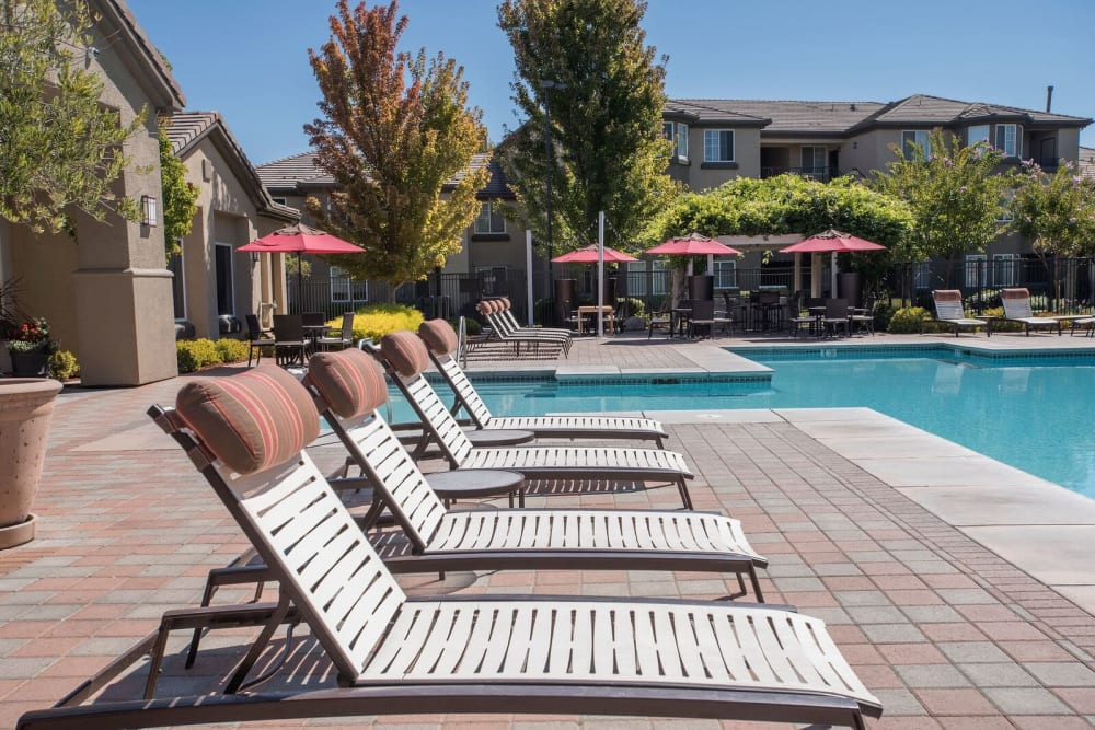 Sundeck with a umbrellas for shade at The Artisan Apartment Homes in Sacramento, California