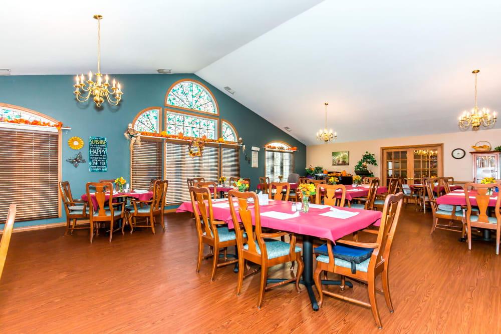 Dining room at Brookstone Estates of Harrisburg in Harrisburg, Illinois.