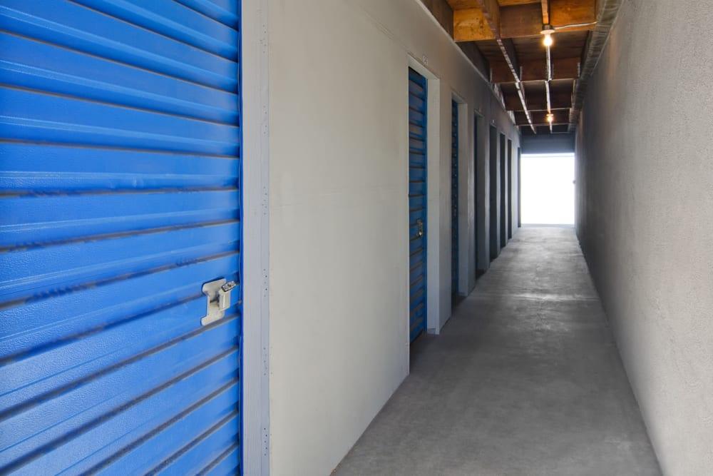 Hallway storage units at A-American Self Storage in Palmdale, California