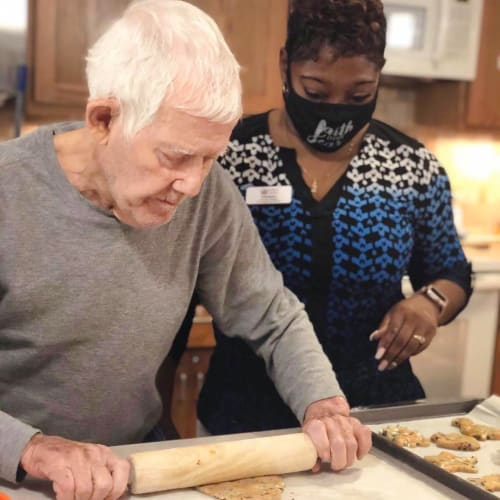 A rolling dough at Oxford Glen Memory Care at Sachse in Sachse, Texas