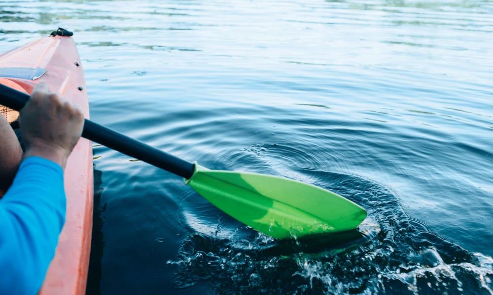 Resident kayaking at Big Bear Lake near Mountain Vista in Victorville, California