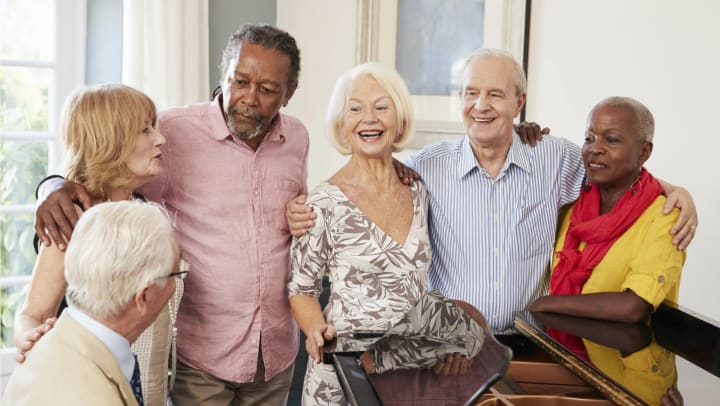Residents enjoying the piano player