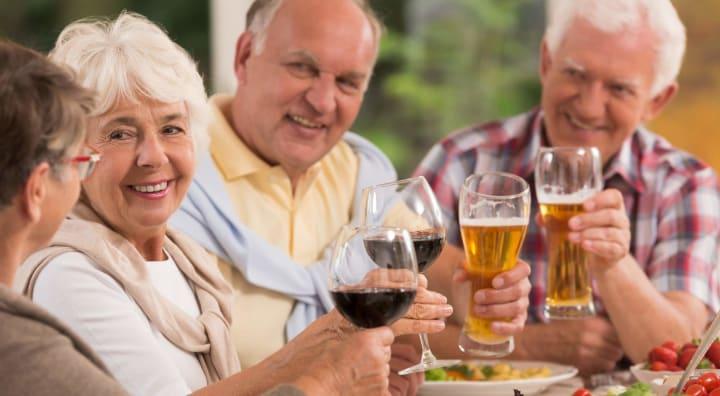 Seniors enjoying beer and wine