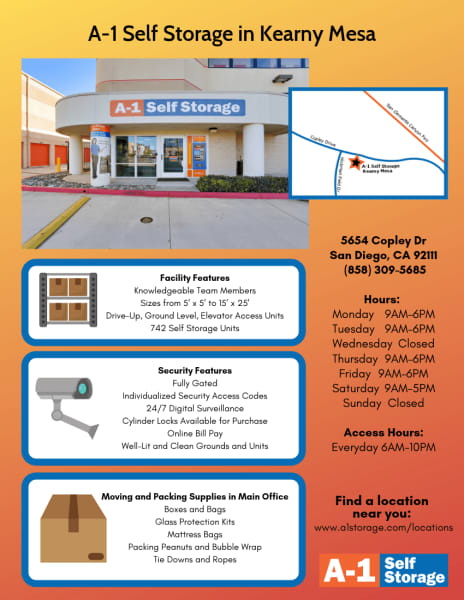A-1 Self Storage in Kearny Mesa, CA, just outside of San Diego, provides superior customer service with a beautiful and secure building.