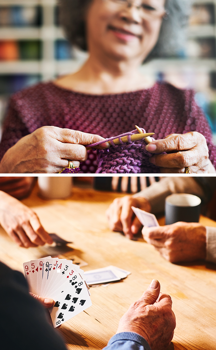 Residents playing cards and knitting at Jaybird Senior Living