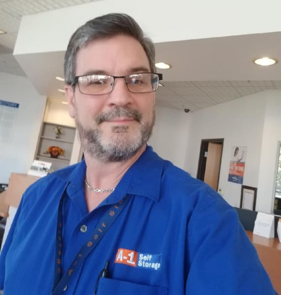 Mark took a selfie inside the office at A-1 Self Storage on High St in Oakland, CA.