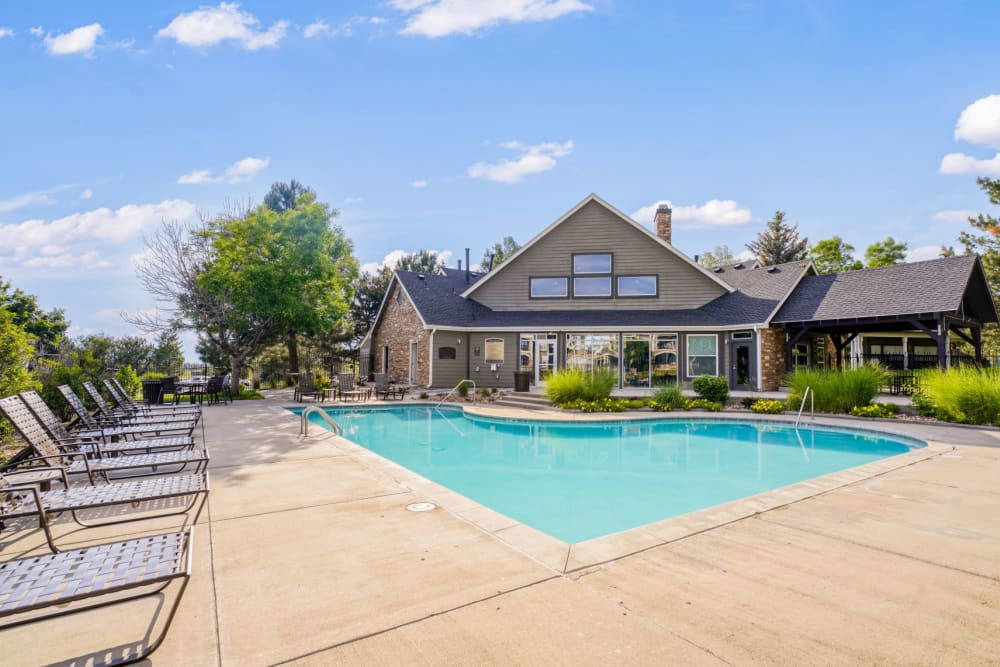Refreshing swimming pool at The Pines at Castle Rock Apartments in Castle Rock, Colorado