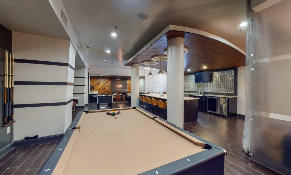 High-end pool table at Bellrock Bishop Arts in Dallas, Texas