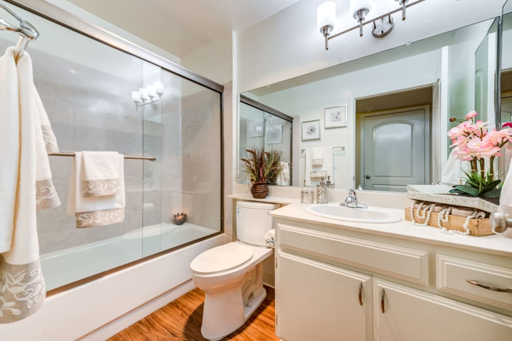 The Ritz apartments' luxury bathroom, a property managed by Carlo Inc.