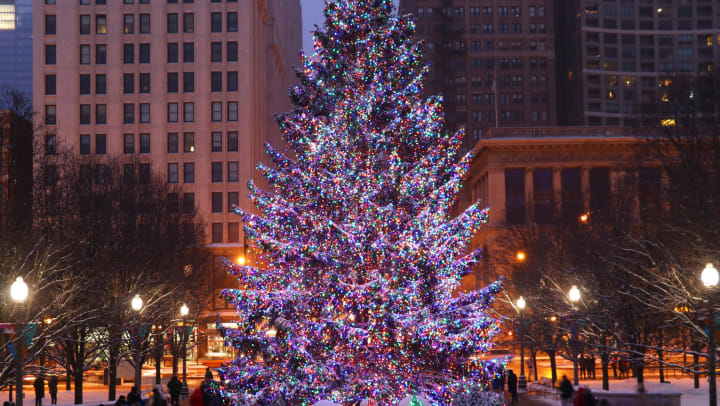 The official Christmas tree of Chicago in Millennium Park, covered with multicolored lights against the city skyline at night.