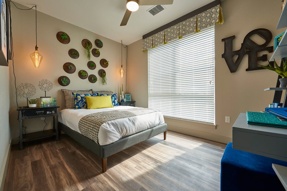 Spacious bedroom at Encore Evans Station in Denver, Colorado