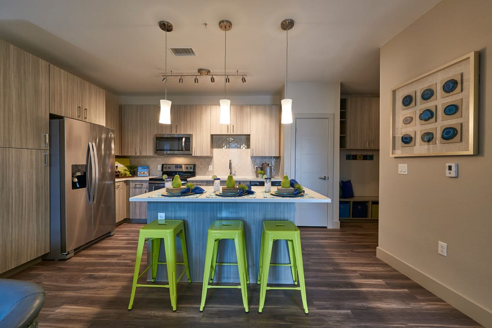 Bright kitchen at Encore Evans Station in Denver, Colorado