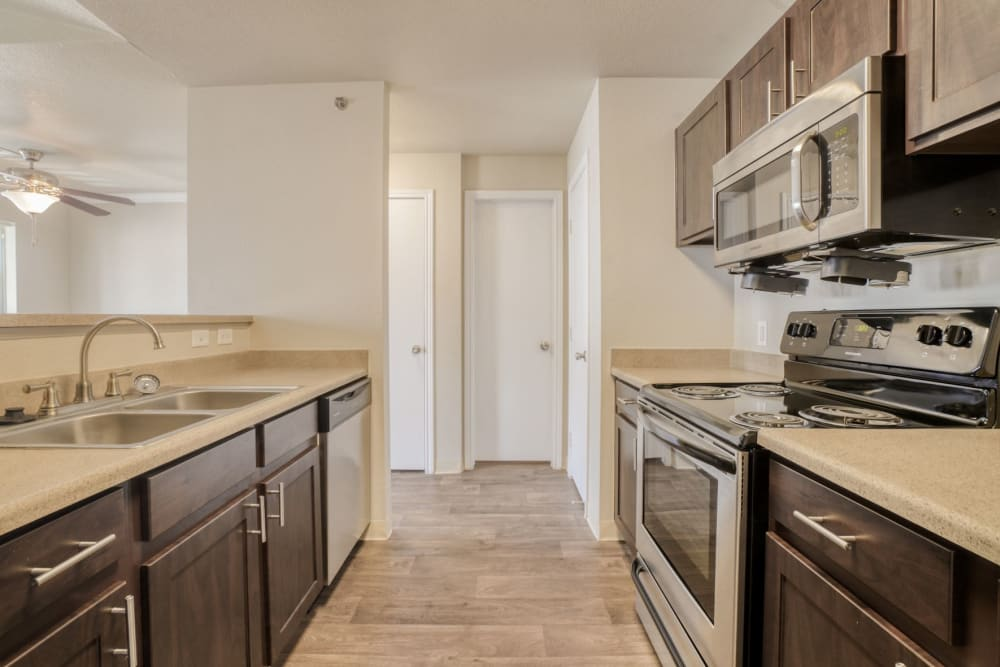 renovated kitchen at The Pines at Castle Rock Apartments in Castle Rock, Colorado