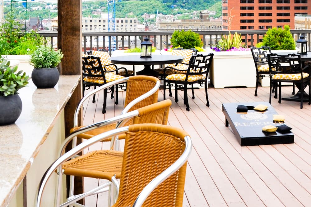 seating at rooftop bar at The Reserve at 4th and Race