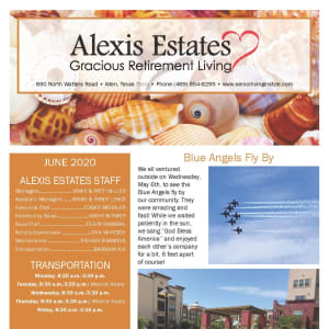June newsletter at Alexis Estates Gracious Retirement Living in Allen, Texas