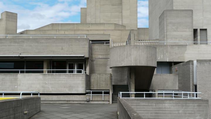 A modern concrete building.