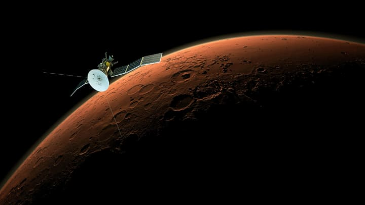 A satellite orbiting Mars.