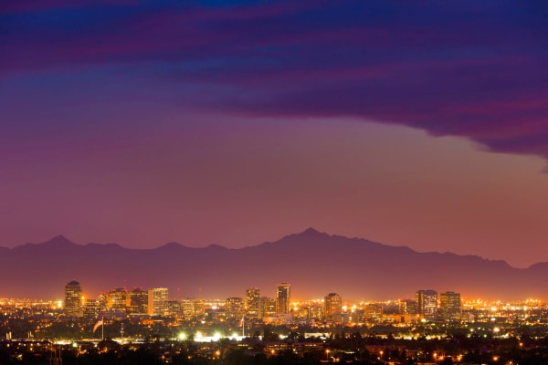 Surreal view of downtown Phoenix at dusk from Sentio in Phoenix, Arizona