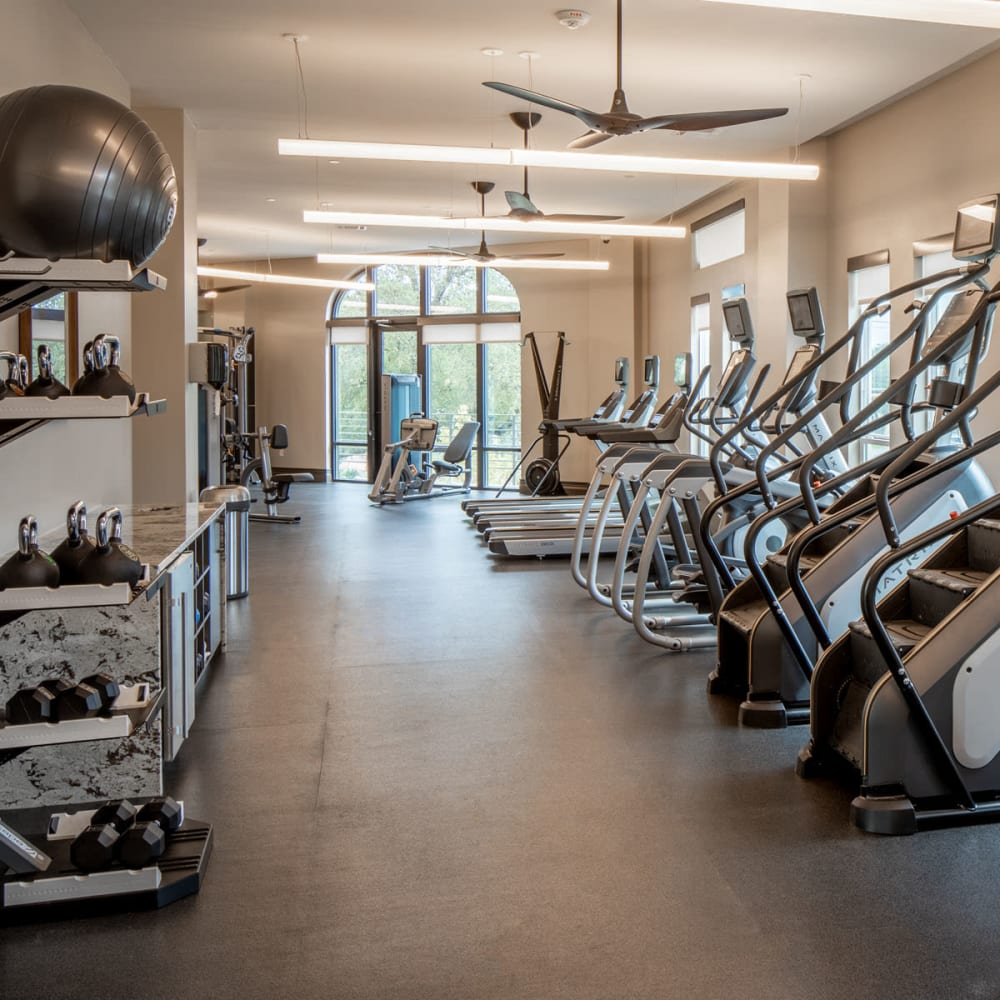 Well-equipped onsite fitness center at Magnolia Heights in San Antonio, Texas