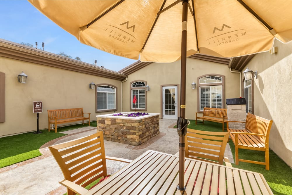 A patio at Merrill Gardens at Siena Hills in Henderson, Nevada.