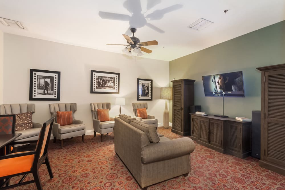 comfortable seating area with TV