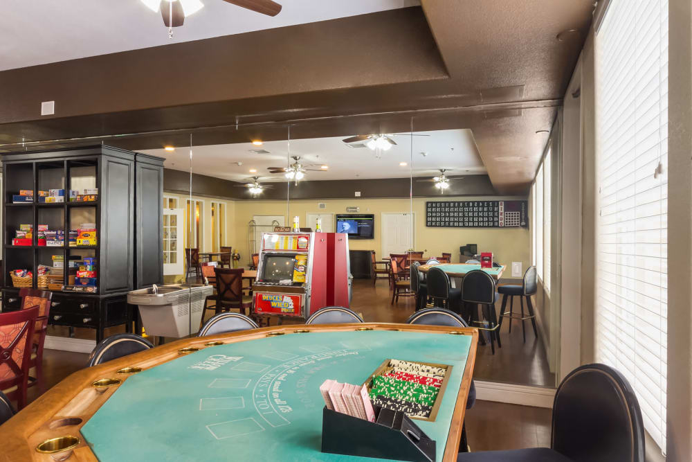 Community game room area at Merrill Gardens at Siena Hills in Henderson, Nevada