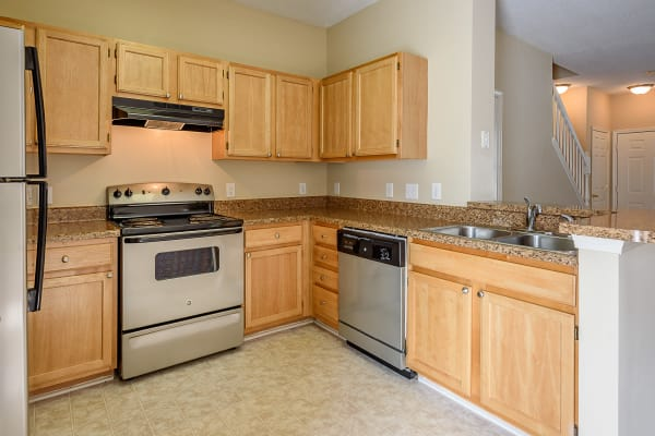 Kitchen at Falls Creek Apartments & Townhomes