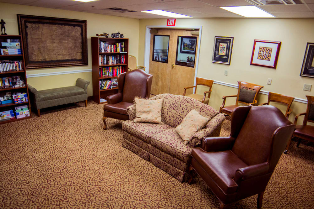 An entertainment room for residents at The Village at Bellevue in Nashville, Tennessee