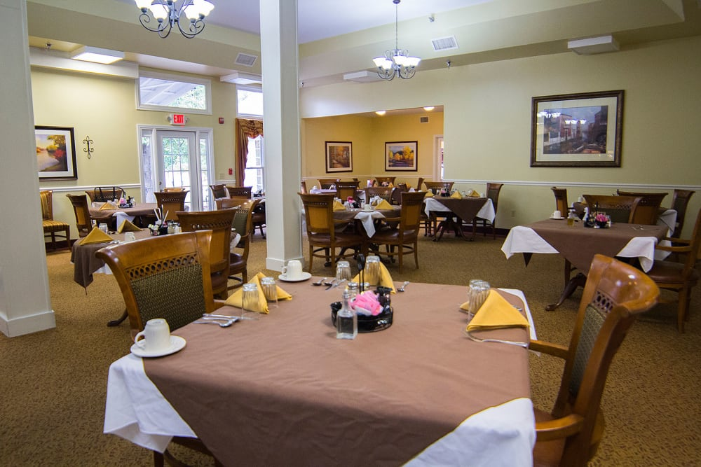 The community dining room at The Village at Bellevue in Nashville, Tennessee