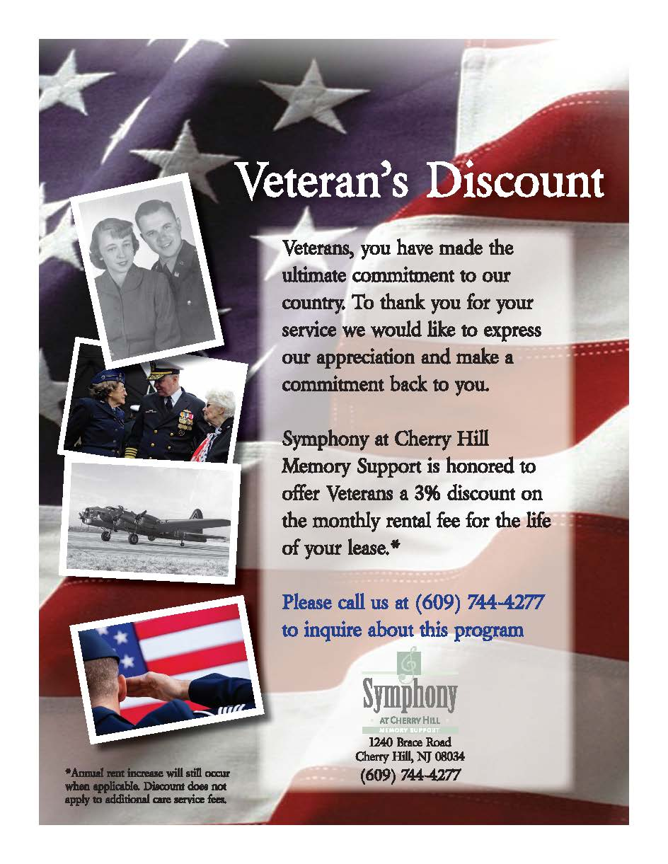 Veterans Discount flyer for Symphony at Cherry Hill in Cherry Hill, New Jersey.