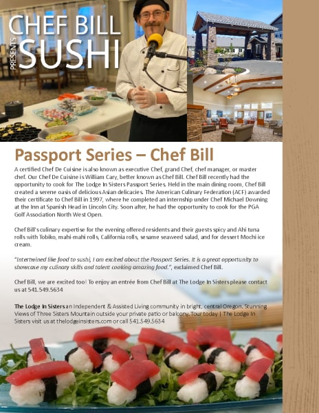 Article about our chef, Bill. Highlighting experience etc