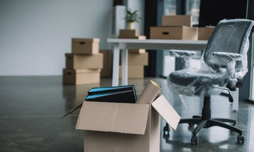 Office supplies packed in preparation for a move near A-1 Self Storage in Oakland, California