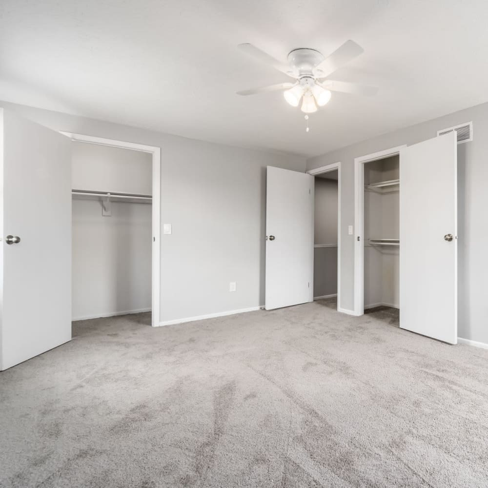Bedroom with large closets at Hidden Acres East in Columbus, Ohio