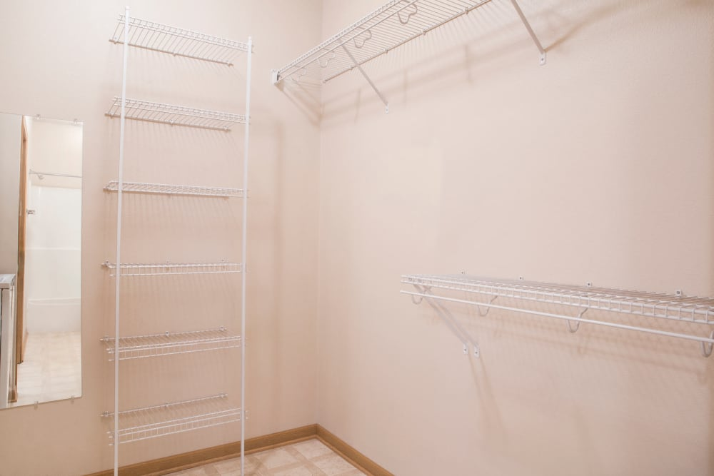 Walk-in closets are available at Crown Point Apartments in Ames, Iowa