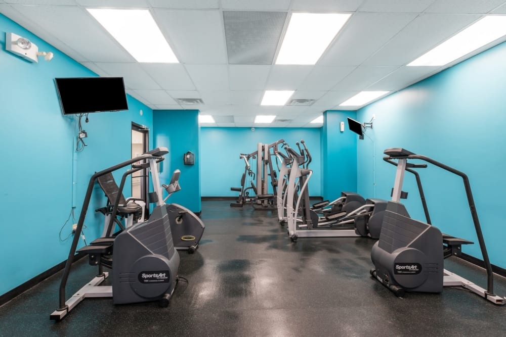 Fitness center at Concord Towers Apartments in Madison Heights, Michigan