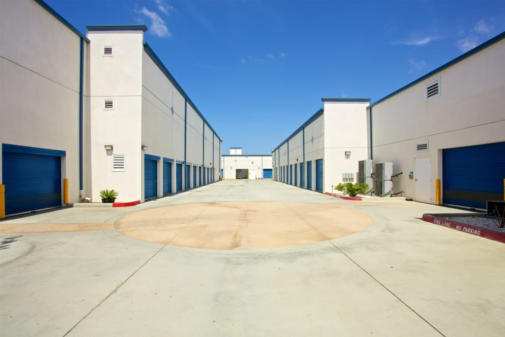Outdoor storage units at Pacific Highway Storage in San Diego, California