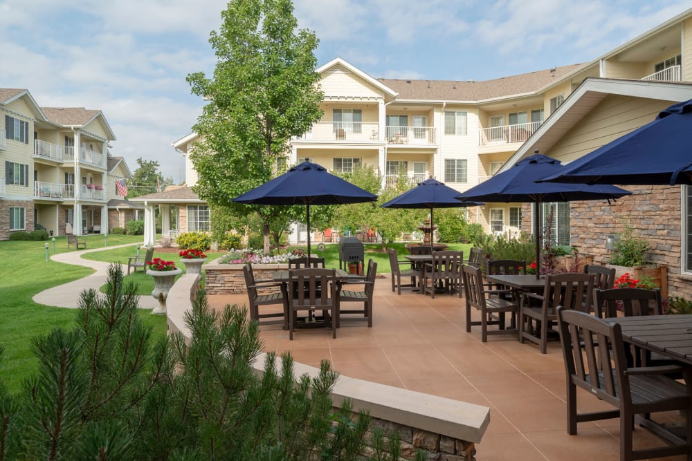 Kipling Meadows offers a senior living community with a patio in Arvada, Colorado
