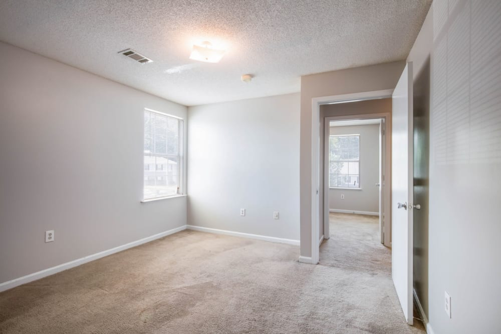 Carpeted bedrooms at Park Place in Jackson, Tennessee