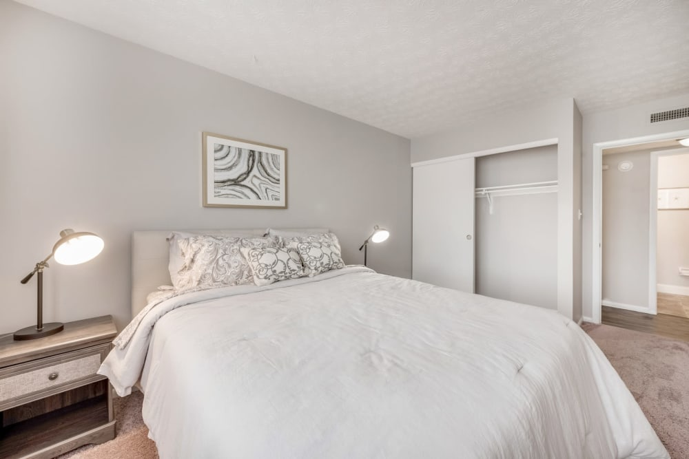 A spacious bedroom at Fox and Hounds Apartments in Columbus, Ohio