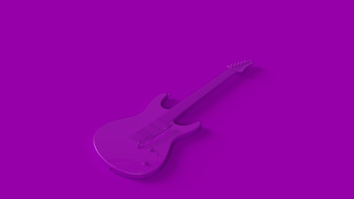 Image of purple guitar for blog at Olympus 7th Street Station in Fort Worth, Texas