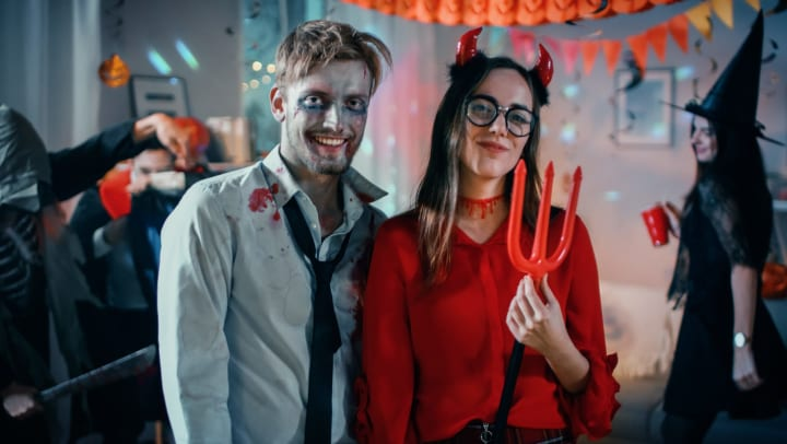Man and woman dressed up at a costume party