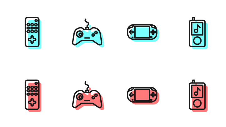 Line of vector images featuring video game icons, gadgets, etc.