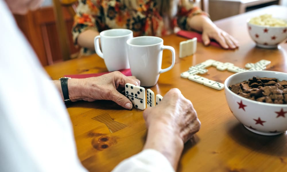 Residents playing memory games at Governor's Village in Mayfield Village, Ohio