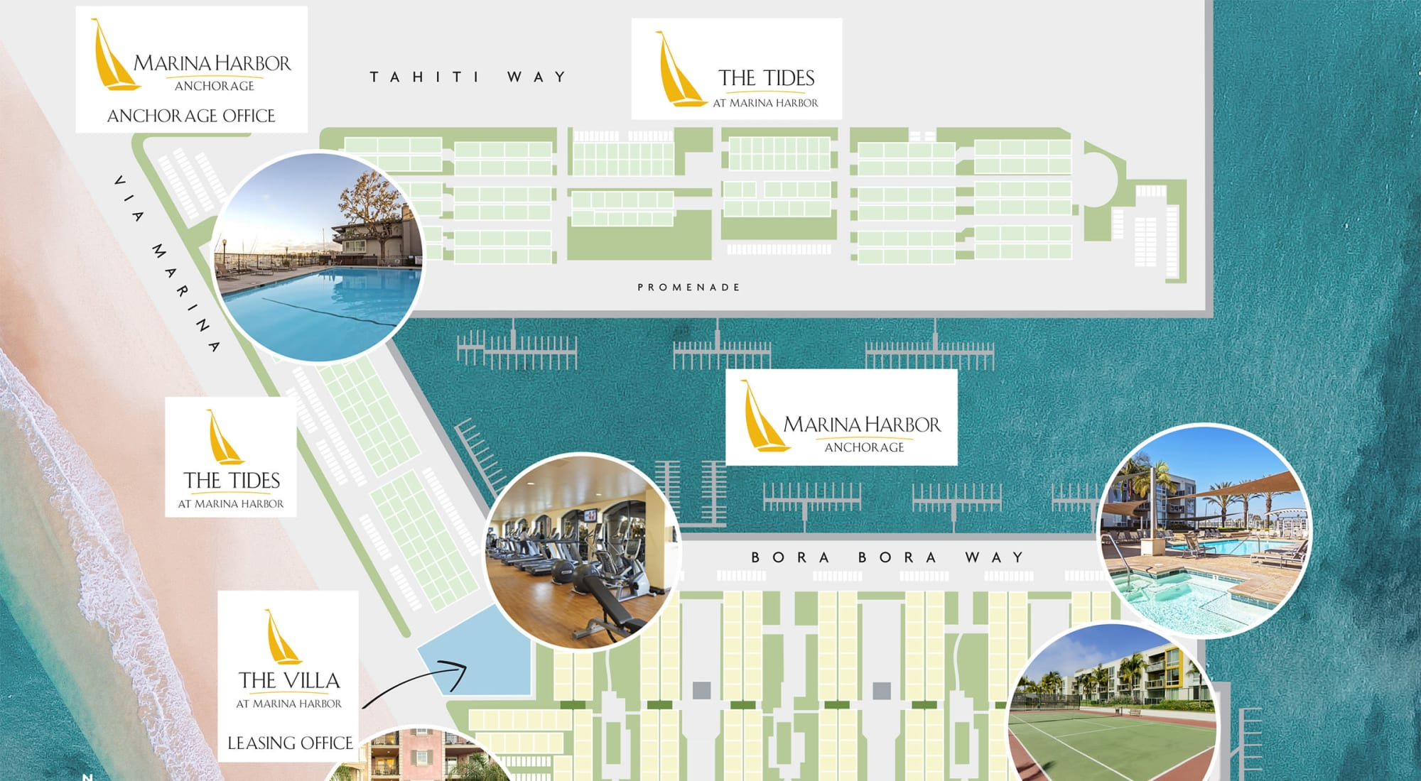 Overall neighborhood site plan for Waters Edge at Marina Harbor in Marina Del Rey, California