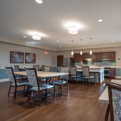 Community room with kitchenette at The Sanctuary at St. Cloud in St. Cloud, Minnesota