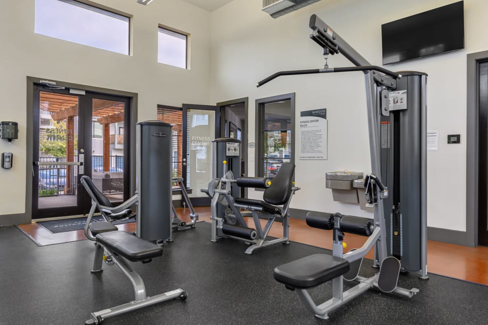 Workout machines ready for use at Marquis SoCo in Austin, Texas