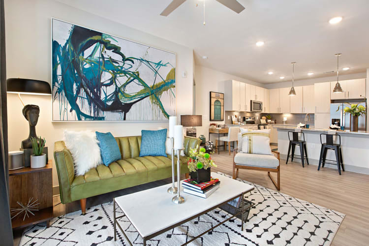 Incredibly spacious living area decorated with some very cool abstract art at 8 Metro Station in Charlotte, North Carolina