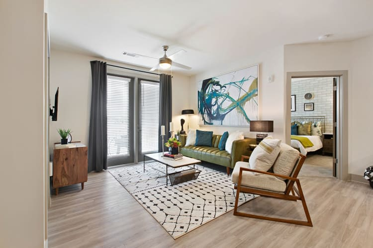 Well-furnished model home's living area at 8 Metro Station in Charlotte, North Carolina